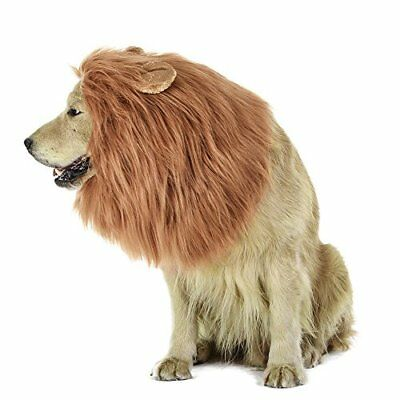 Lion Mane Wig for Dog and Cat Costume with Ears Pet Adjustable Comfortable Fancy