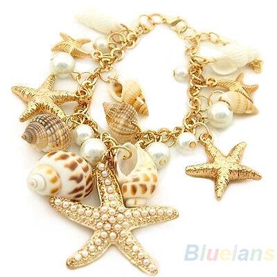 Women's Ocean Multi Starfish Sea Star Conch Shell Pearl Chain Beach Bracelet