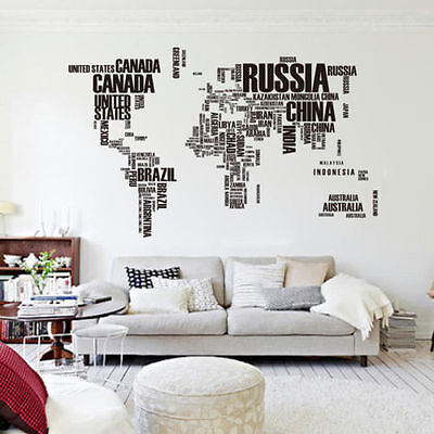 Letter World Map Removable Vinyl Decal Wall Sticker