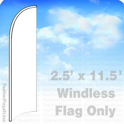 Solid Color White - Windless Swooper Feather Flag Banner Sign 2.5x11.5 - Wb