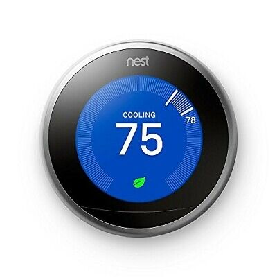Nest Learning Smart Thermostat, Stainless Steel, 3rd Generation, Works w/ Alexa
