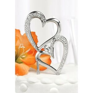 double heart wedding cake toppers hearts wedding cake topper silver ebay 13707