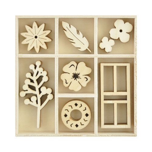 Kaisercraft Wooden Flourish packs / storage box 74 selections - Collected