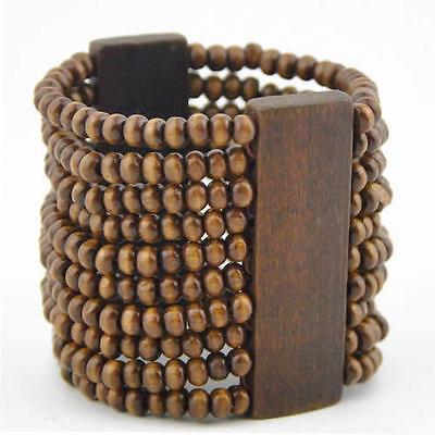 Fashion Brown wooden beads bracelet elastic bangle  - Wooden Bangles