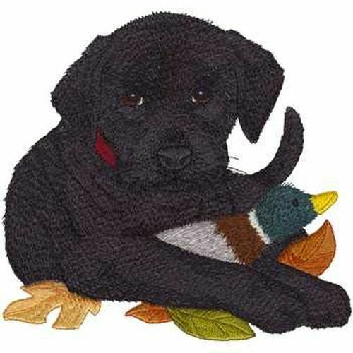 """Black Labrador Puppy Dog, Embroidered Patch 7.3"""" x7"""""""