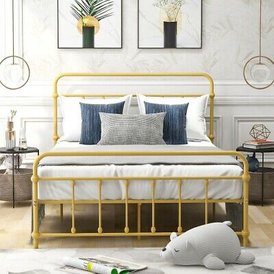 Full Size Metal Bed Frame Yellow Mattress Foundation with Headboard Footboard