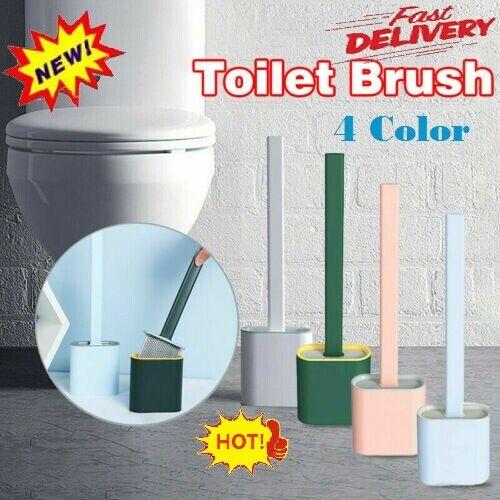 NEW Revolutionary Silicone Flex Toilet Brush And Holder Set