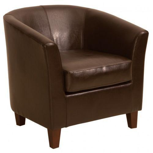 Leather bucket chair ebay for Leather bucket dining chairs
