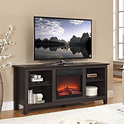Walker Edison 58-inch Wood TV Stand in Espresso with Fireplace Insert, W58FP18ES