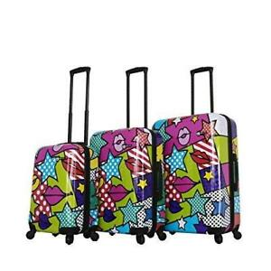 Mia Toro Italy-Stars and Kisses Hard Side Spinner Luggage 3pc Set