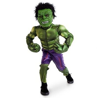Disney Store Incredible Hulk Deluxe Costume Marvel Avengers Boy Halloween NEW](Incredible Hulk Halloween)