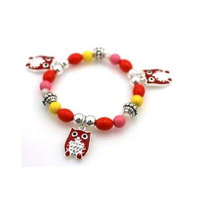 Childrens Multi-Color Beaded Stretch Bracelet W Red Owl Charms