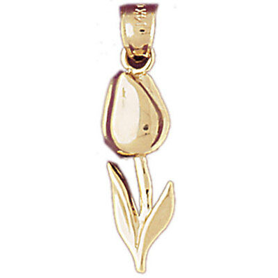 NEW 14k YELLOW GOLD TULIP FLOWER CHARM PENDANT JEWELRY