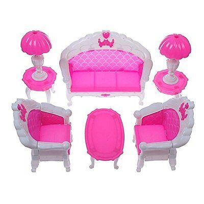 6PCS Furniture Sofa Chair Lamp Coffee Tea Table for Barbie Dolls House Set Toys