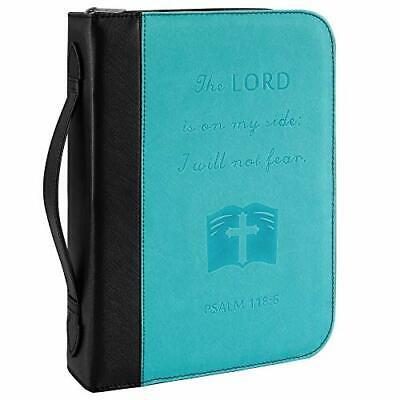 Large PU Leather Durable Zipper Bible Cover Case Cross for Men/Women Black&Blue
