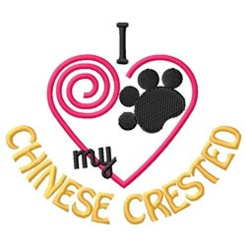 I Heart My Chinese Crested Ladies Short-Sleeved T-Shirt 1408-2 Size S - XXL