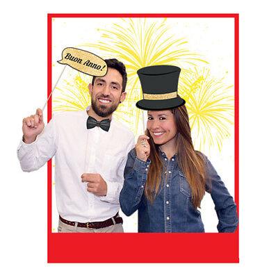 photo booth buon anno 8 pz 20 cm accessori decorazioni foto selfie capodanno