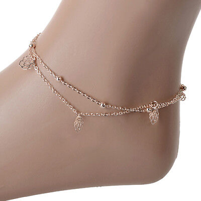 Women's Fashion Jewelry Gold Plated Rose Flower Anklet Ankle Bracelet 49-4 ()