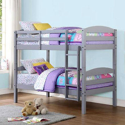 Wood Bunk Bed Combine over Twin Convertible Bunkbeds Kids Ladder Furniture Gray