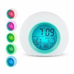 Kids Music Alarm Clock Wake Up Light Clock Premium Digital Display Model 7 Natur