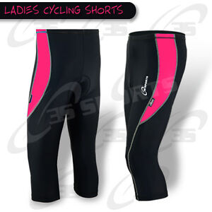 Ladies Cycling Shorts 3/4 Three Quarter Legging Short Coolmax Padded - S-M-L-XL