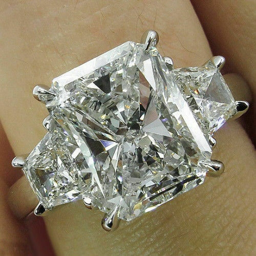 2.70 Ct Radiant Cut Diamond & Trapezoid Engagement Ring 14K E,SI2 GIA 3-Stone 1