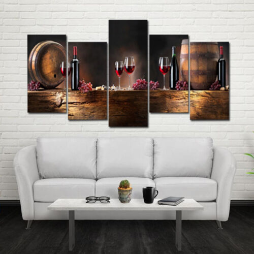 Details About Modern Red Wine Bottle Glass Oil Painting Canvas Home Living Room Wall Decor