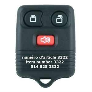 3 Button Remote for Ford / Lincoln / Mercury / Mazda