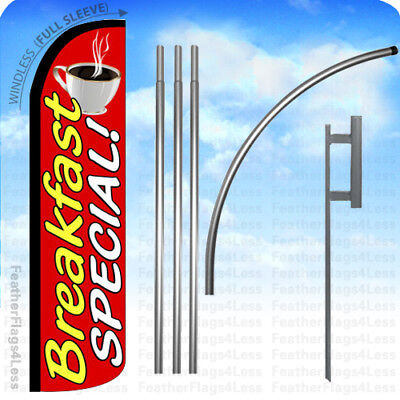 Breakfast Special - Windless Swooper Flag Kit Feather Banner Sign 15 Set Rz