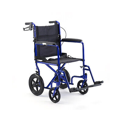 """Invacare Aluminum Transport Chair with 12"""" Wheels, Blue"""