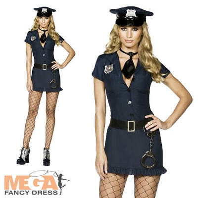 Naughty Police Cop Fever Ladies Fancy Dress Sexy Cop Uniform Lady Costume Outfit ()