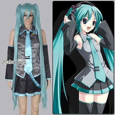 Vocaloid Miku Hatsune Kleid Rock Schilips Krawatte Ärmel Sets Kostüm Cosplay (Vocaloid Cosplay Kostüme)