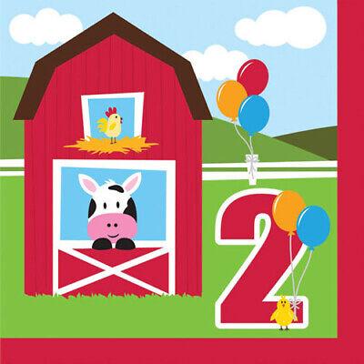 BARNYARD Farmhouse Fun 2ND BIRTHDAY LUNCH NAPKINS (16) ~ Party Supplies