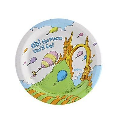 Dr. Seuss Oh The Places You'll Go Graduation Party Supplies Dessert Plates 8 ct