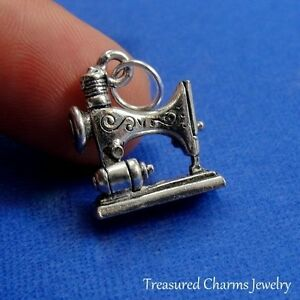 Silver Sewing Machine Charm Seamstress Quilt Spool Thread 3D Pendant NEW