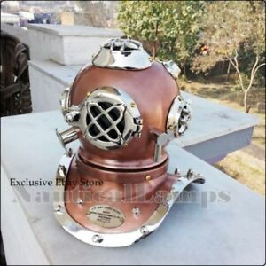 Beutiful copper antique diving divers helmet Silver brass mini diver helmet gift