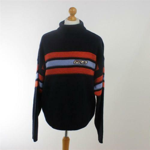 Rare!! Fila International Sweatshirt Spell Out Embroidery Pullover Jumper Turtleneck Long Sleeves Large Size pgZ5a