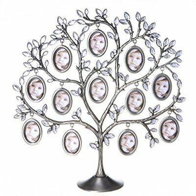 Pewter Finish Metal Family Tree Photo Stand Picture Collage 12 Frames Xmas Gift](Christmas Photo Frames)