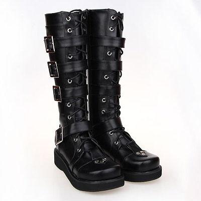 Schwarz Gothic Goth Steam-Punk Rock Damen-Stiefel Schuhe women boots Kostüme EMO ()