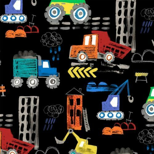 Diggers And Dumpers By Michael Miller Fabrics - Black Construction Site  #9407-B