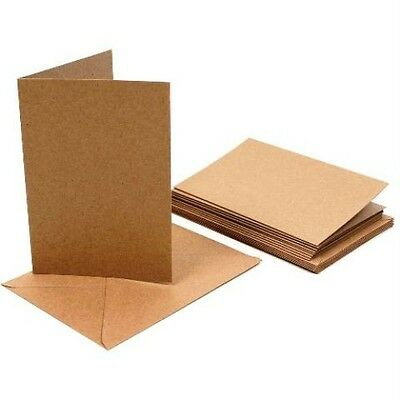 C7 Kraft Creased Card Blanks and Envelopes by Cranberry Pack of 25