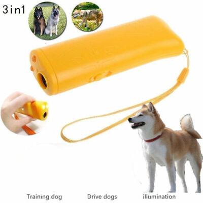3 in 1 Ultrasonic Aggressive Dog Pet Repeller Training Anti Barking Device US
