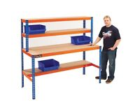 Clarke CWB1830S Heavy Duty Boltless Workstation With Three Shelves Racking Storage Shelving Garage