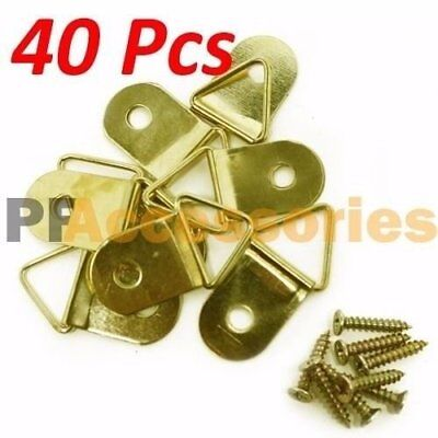 """40 Pcs 1"""" inch D Ring Hanging Picture Frame Hanger Hooks Brass Plated w/ Screws"""