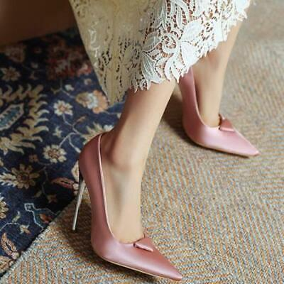 как выглядит Womens Trendy Pointy Toe Satin Dress Shoes Stiletto High Heels Wedding Shoes фото