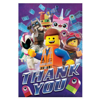 LEGO MOVIE 2 THANK YOU NOTES (8) ~ Birthday Party Supplies Stationery Cards - Thank You Movie