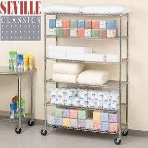 "NEW SEVILLE CLASSIC 6 TIER SHELVING - 114726392 - CHROME FINISH WIRE SHELVES WITH WHEELS - 47.5""x18""x76"""