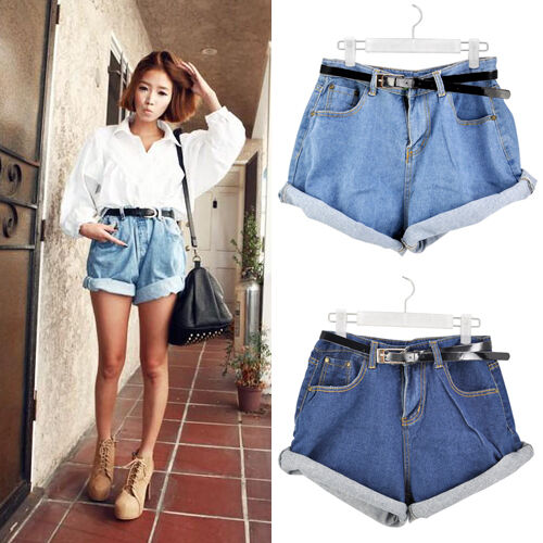 Vintage Fashion Womens High Waisted Oversize Crimping Denim Jeans ...