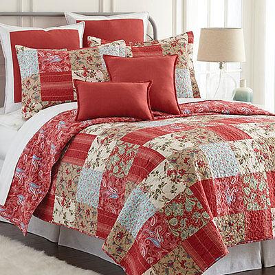 3 Piece Sherry Kline Manhattan Red Queen Size Reversible Quilt Set
