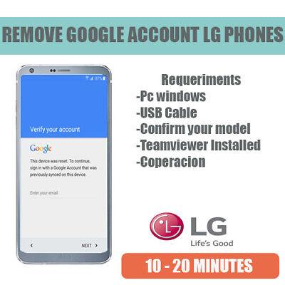 Remote Service Google Account Removal Reset FRP Bypass LG G3 G4 G5 G6 V10 V20